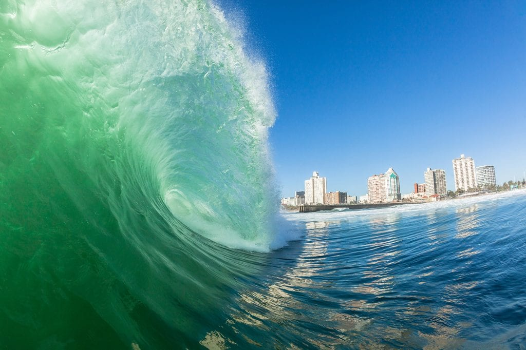 Surfing waves in Durban, South Africa