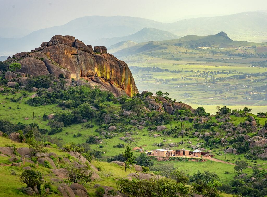 Ezulwini valley in Swaziland with beautiful mountains, trees and
